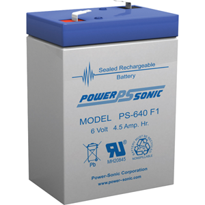 Power-Sonic PS-640 Multipurpose Battery - 4500 mAh - Sealed Lead Acid (SLA) - 6 V DC - Battery Rechargeable