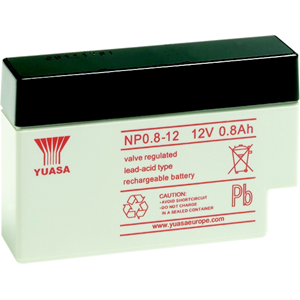 Yuasa NP0.8-12 Multipurpose Battery - 800 mAh - Sealed Lead Acid (SLA) - 12 V DC - Battery Rechargeable