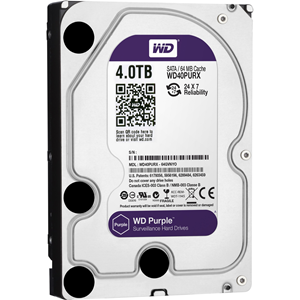 "WD Purple WD40PURX 4 TB Hard Drive - 3.5"" Internal - SATA (SATA/600) - 64 MB Buffer - 3 Year Warranty"