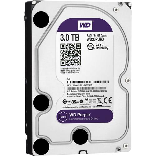 "WD Purple WD30PURX 3 TB Hard Drive - 3.5"" Internal - SATA (SATA/600) - 64 MB Buffer - 3 Year Warranty"