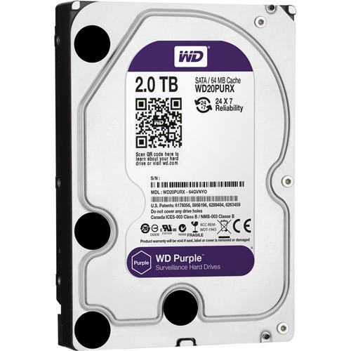 """WD Purple WD20PURX 2 TB Hard Drive - SATA (SATA/600) - 3.5"""" Drive - Internal - 64 MB Buffer"""
