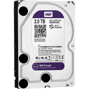 "WD Purple WD20PURX 2 TB Hard Drive - SATA (SATA/600) - 3.5"" Drive - Internal - 64 MB Buffer"