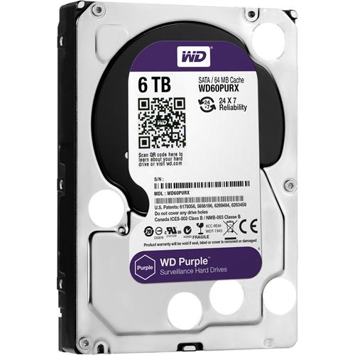 "WD Purple WD60PURX 6 TB Hard Drive - 3.5"" Internal - SATA (SATA/600) - 64 MB Buffer - 3 Year Warranty"