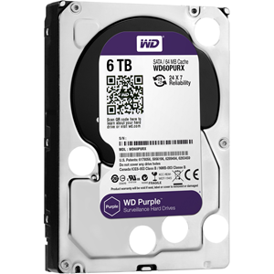 "WD Purple WD60PURX 6 TB Hard Drive - 3.5"" Internal - SATA (SATA/600) - 64 MB Buffer - 3 Year Warranty"