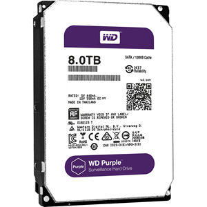 "WD Purple WD80PUZX 8 TB 3.5"" Internal Hard Drive - SATA - 5400rpm - 128 MB Buffer"