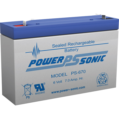Power-Sonic PS-670 Multipurpose Battery - 7000 mAh - Sealed Lead Acid (SLA) - 6 V DC - Battery Rechargeable