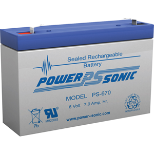 Power-Sonic PS-670 Multipurpose Battery - 7000 mAh - Sealed Lead Acid (SLA) - 6 V DC - Battery Rechargeable