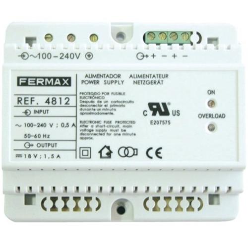 FERMAX Power Supply - 120 V AC, 230 V AC Input Voltage - 18 V DC Output Voltage - DIN Rail
