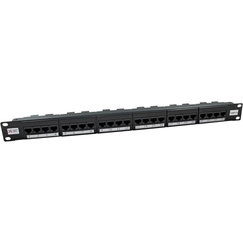 "Cable Monkey 24 Port(s) Network Patch Panel - Black - 24 x RJ-45 - 1U High - 19"" Wide - Rack-mountable"