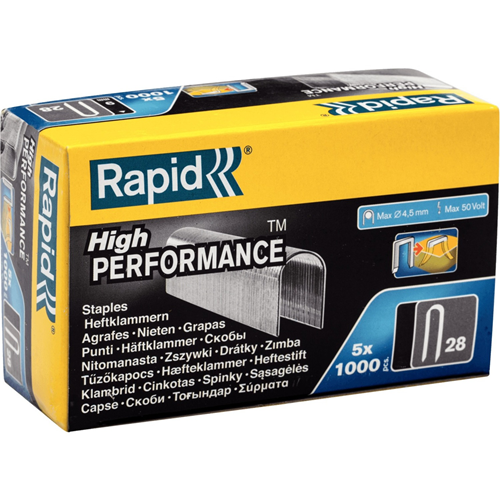 Rapid Staples - No.28 - 10 mm Leg - for Cable - Galvanized - Steel - 5000 / Box