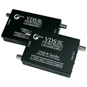 Genie VDS2500 Video Extender Transmitter/Receiver - Wired - 2 Input Device - 2 Output Device - 500 m Range - Coaxial