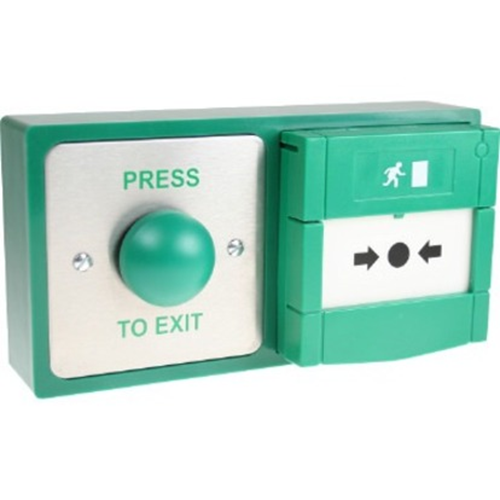 CDVI Push Button/Manual Call Point For Home - Double Gang - Green - Stainless Steel, Glass
