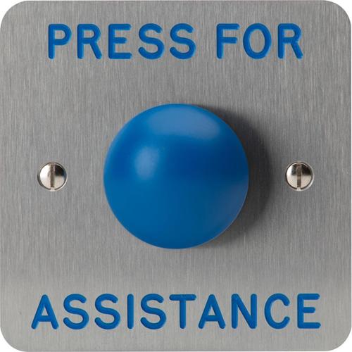 3E Push Button - Single Gang - Fine Silver, Blue - Stainless Steel, Zinc Alloy