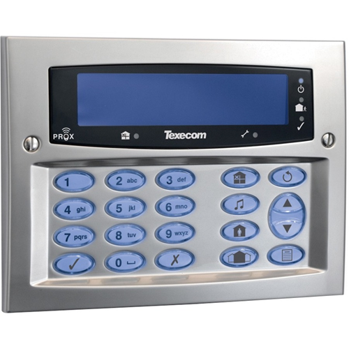 Texecom Premier Elite Security Keypad - For Control Panel - Satin Chrome