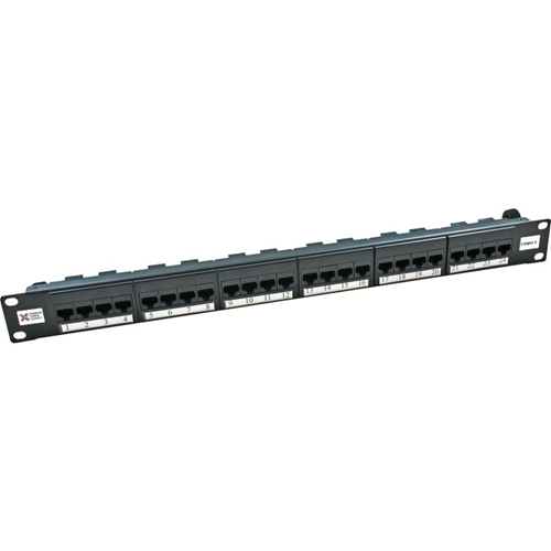 "Connectix Elite 24 Port(s) Network Patch Panel - Black - 24 x RJ-45 - 1U High - 19"" Wide - Rack-mountable"