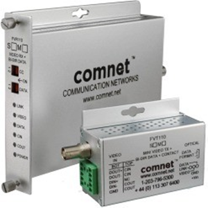 ComNet Video Extender Transmitter - Wired - 1 Input Device - 3 km Range - 1 x ST Ports - Serial Port - Coaxial, Optical Fiber - Rack-mountable