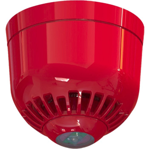 Klaxon Sonos Pulse Security Strobe Light - White - Wired - 60 V DC - Visual - Ceiling Mountable - Red