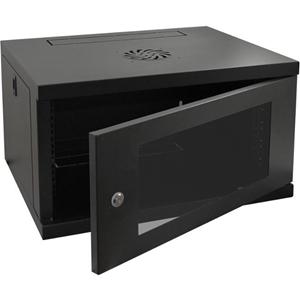 RackyRax 6U High x 482.60 mm Wide Wall Mountable Rack Cabinet for LAN Switch, Patch Panel, PDU - Black - Glass, Steel Front Door, Frame