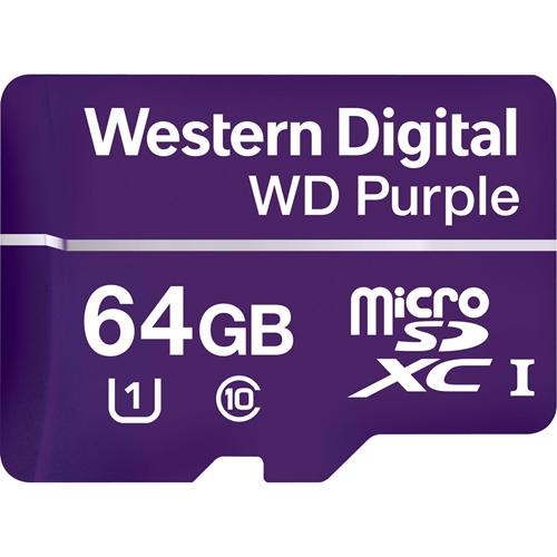 WD Purple WDD064G1P0A 64 GB Class 10/UHS-I (U1) microSDXC - 100 MB/s Read - 60 MB/s Write