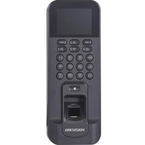 Hikvision DS-K1T804EF Biometric/Card Reader/Keypad Access Device - Black - Door - Fingerprint, Proximity, Key Code - 3000 User(s) - 50 mm Operating Range - Fast Ethernet - Wireless LAN - Network (RJ-45) - Serial - Wiegand - 12 V DC - Surface Mount, Door-mountable, Gang Box Mount