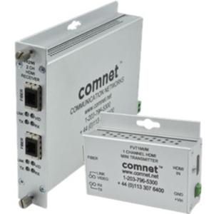 Comnet FVT1MI/M Video Extender Transmitter - Wired - 1 Input Device - 1 km Range - 1920 x 1080 Video Resolution - Full HD - Optical Fiber - Rack-mountable