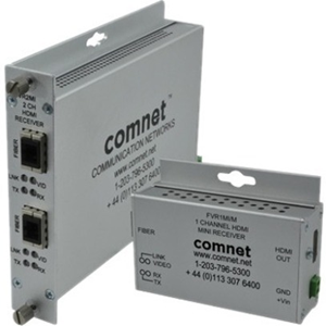 Comnet FVR1MI/M Video Extender Receiver - Wired - 1 Output Device - 1 km Range - 1920 x 1080 Video Resolution - Full HD - Optical Fiber - Rack-mountable