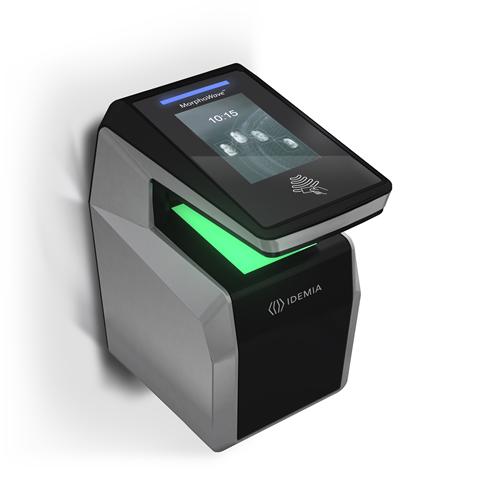 Morpho MorphoWave Compact Fingerprint Reader - 16 GB - Capacitive Sensor - Network (RJ-45) - USB - Wall Mount
