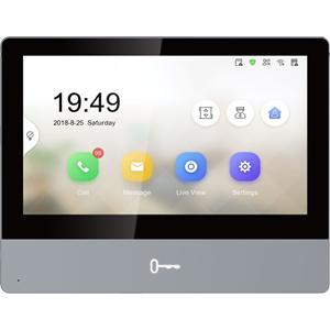 "Hikvision DS-KH8350-WTE1 17.8 cm (7"") Video Master Station - Touchscreen - Tempered Glass, Aluminium - Indoor, Apartment"