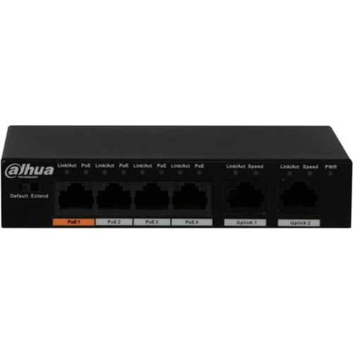 Dahua PFS3006-4ET-60 4 Ports Ethernet Switch - 2 Layer Supported - Twisted Pair - Desktop