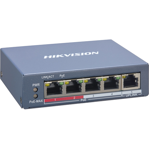 Hikvision DS-3E1105P-EI 4 Ports Manageable Ethernet Switch - 2 Layer Supported - 60 W PoE Budget - Twisted Pair - PoE Ports - 3 Year Limited Warranty